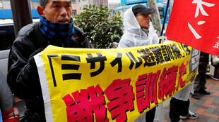 Manifestation contre l'exercice d'évacuation anti-missile à Tokyo, le 22 janvier 2018.
