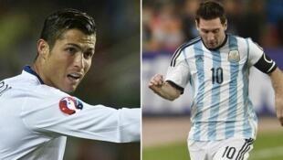 Cristiano Ronaldo (Portugal) et Lionel Messi (Argentine).