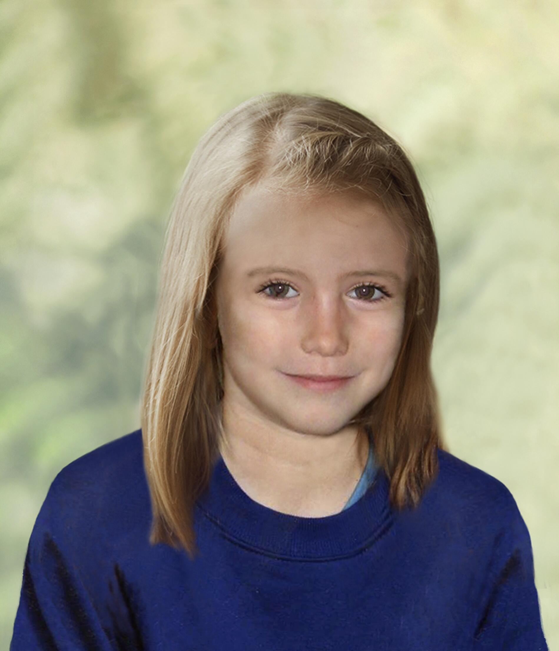 A garota Madeleine McCann, em imagem produzida por computador que imagina como seria sua aparência hoje em dia, às vésperas de completar nove anos.