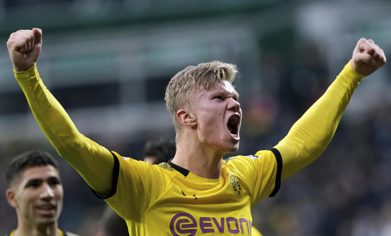 Le Norvégien du Borussia Dortmund, Erling Haaland, célébrant un but inscrit face au Werder Brême, le 22 février 2020.