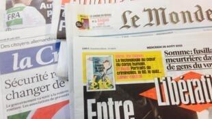 Primeiras páginas dos diários franceses de 26/08/2015