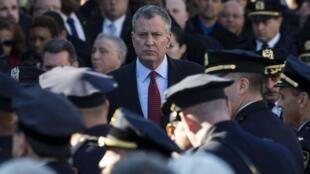 Le maire de New York Bill de Blasio lors des obsèques du policier Rafael Ramos, le 27 décembre 2014.