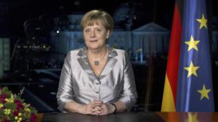 Thủ tướng Đức Angela Merkel thu hình lời chúc năm mới tại Berlin, ngày 30/12/2012.
