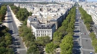 Avenue Foch (L) from the top of the Arc de Triomphe. The avenue is a favourite destination of foreign millionaires in Paris.