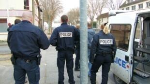 Police on patrol in Bobigny