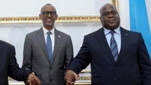 Presidente de Uganda, Yoweri Museveni, Presidente de Angola, João Lourenço, Presidente do Ruanda, Paul Kagamé e Presidente da República Democrática do Congo, Félix Tshisekedi. Luanda, 2 de Fevereiro de 2020.