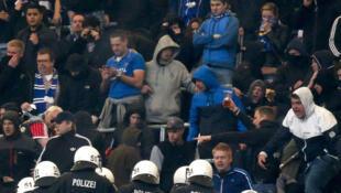 La tribune des supporters de Hambourg SV, pendant le match contre le Bayern de Munich, le 3 mai 2014.