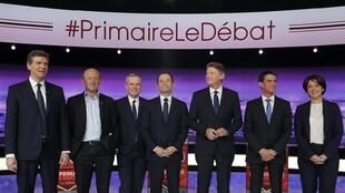 Buổi tranh luận truyền hình giữa các ứng viên cánh tả Pháp tham gia tranh cử sơ bộ ngày 12/01/2017.