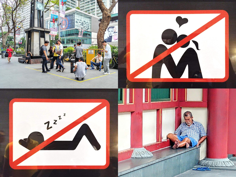 Singapore có nhiều lệnh cấm, ngay ở chốn công cộng không phải hút thuốc chỗ nào cũng được, hôn nhau ngoài phố cũng bị cấm, ngủ lây lất hay ăn xin càng bị phạt nặng