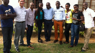 Des membres du Club RFI, Cédric Armand, Eric Amiens, Maréma, Stanislas Kaburungu, Epipode Nsabyakare, en mars 2015.