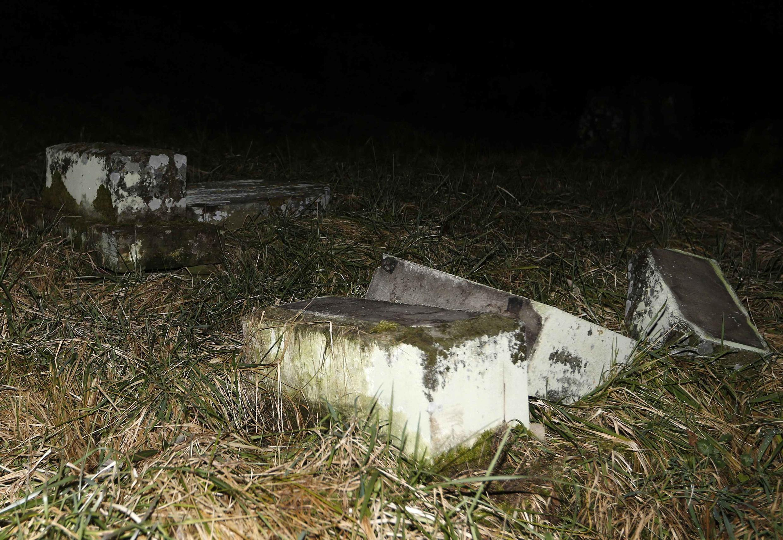 Desecrated tombstones in Sarre-Union Jewish cemetery