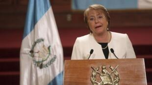 La présidente chilienne Michelle Bachelet, lors d'une visite au Guatemala, le 30 janvier 2015.
