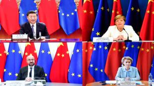 欧中领导人视频会议资料图片
