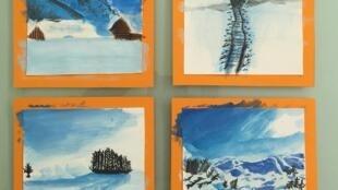 Bưu thiếp chúc mừng Giáng Sinh do Bảo Nam tự vẽ để bán tại hội chợi Noel của trường Sacré Coeur Versailles