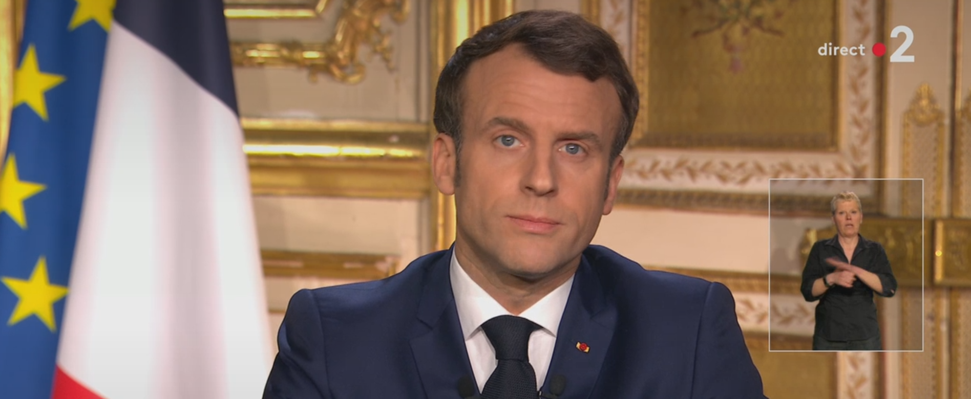 French president Emmanuel Macron during his speech March 15 where he annouced further measures to combat the coronavirus