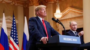 Donald Trump na mwenzake wa Urusi Vladimir Putin, Julai 16,  2018 huko Helsinki.