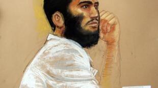 Omar Khadr tel qu'il a été dessiné lors d'une comparution devant la cour spéciale de Guantanamo en avril 2010.