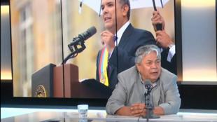 Camilo Castellanos, portavoz de Vamos por la Paz en Escala en París. 18 de septiembre de 2019.