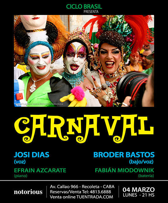 Flyer do baile de Carnaval conduzido pela cantora pernambucana Josi Dias.