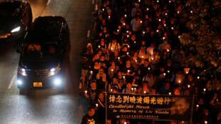 香港悼念劉曉波的燭光遊行
