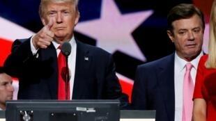 Donald Trump et Paul Manafort, à Cleveland, lors de la campagne de 2016 (Photo d'illustration).