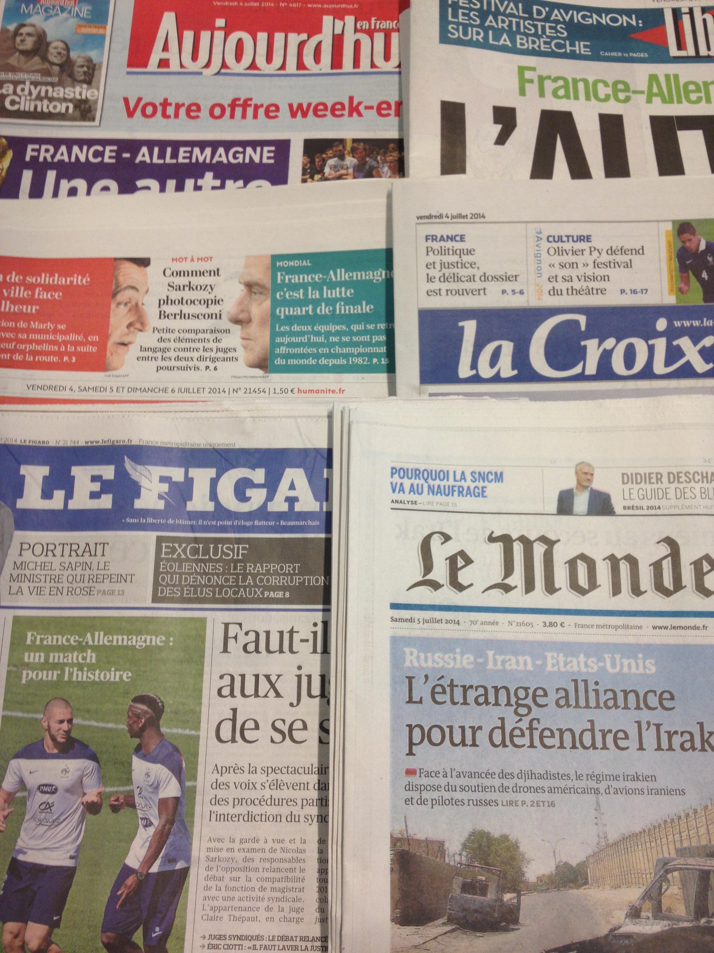 Primeiras páginas dos diários franceses de 4/7/2014