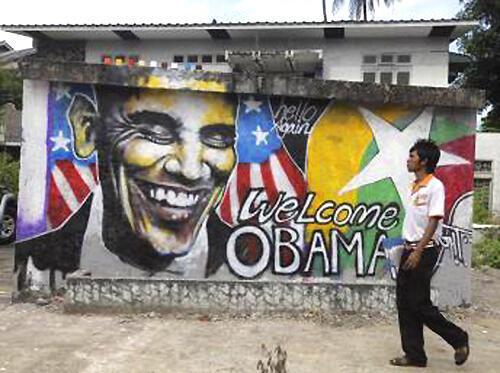 Đường phố Rangun vẽ hình ông Obama nhân dịp tổng thống Mỹ thăm Miến Điện (Reuters)