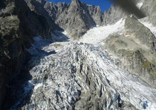El glaciar de Planpincieux, en el noroeste de Italia.