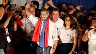 O novo presidente paraguaio, Mario Abdo Benitez, após sua vitória em Assunção, em 22 de abril de 2018