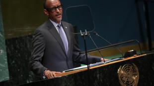 Le président rwandais Paul Kagame, à la tribune de l'Assemblée générale des Nations unies, le 25 septembre 2018.