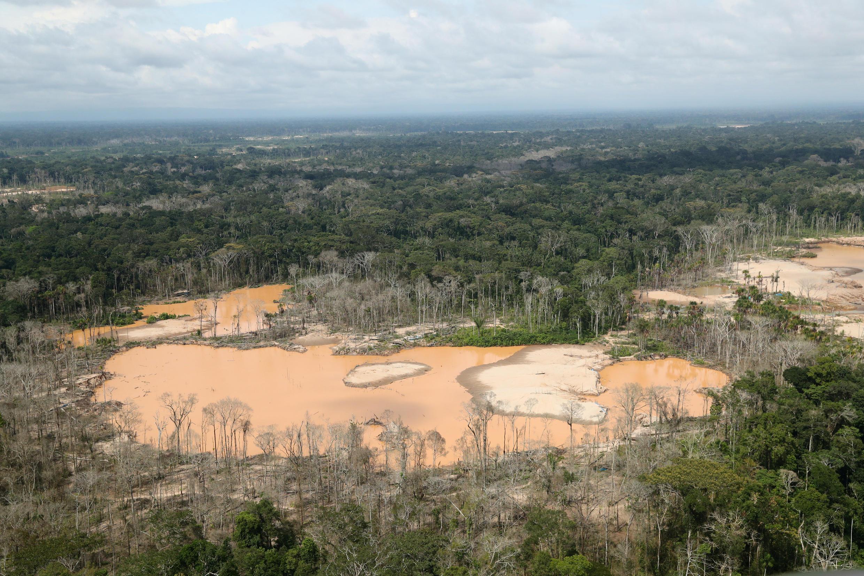 Une vue d'une partie de la forêt amazonienne touchée par la déforestation dans le sud-est du Pérou. La déforestation, dans le monde, est à 80% due aux activités agricoles.