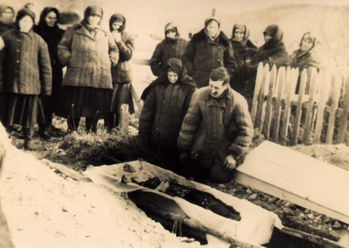 A funeral in a camp in Kazakhstan