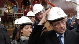 "Президент Франции Франсуа Олланд на верфях ""STX Chantiers de l'Atlantique"" в Сен-Назере"
