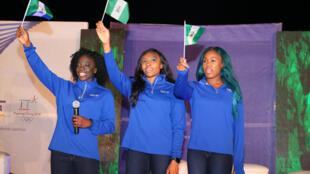 Les Nigérianes Seun Adigun, Ngozi Onwumere and Akuoma Omeoga avant les JO d'hiver 2018.