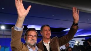 西班牙首相拉霍伊2017年11月12日在巴塞羅那為人民黨競選拉票。