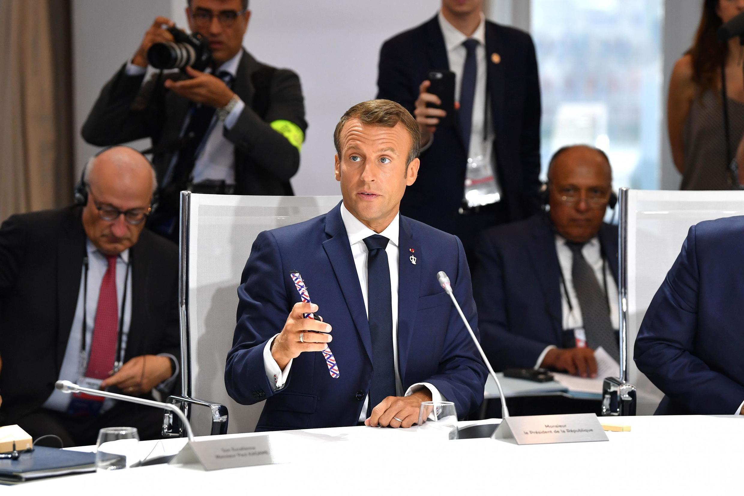 French President Emmanuel Macron on the final day of the G7 Summit in Biarritz, France, 26 August 2019.