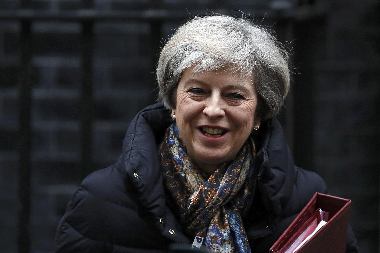 Theresa May à sa sortie du 10, Downing Street, le 25 janvier 2017.
