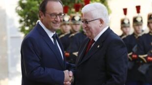 Франсуа Олланд принимает президента Ирака Фуада Массума в Елисейском дворце, 15 сентября 2014.