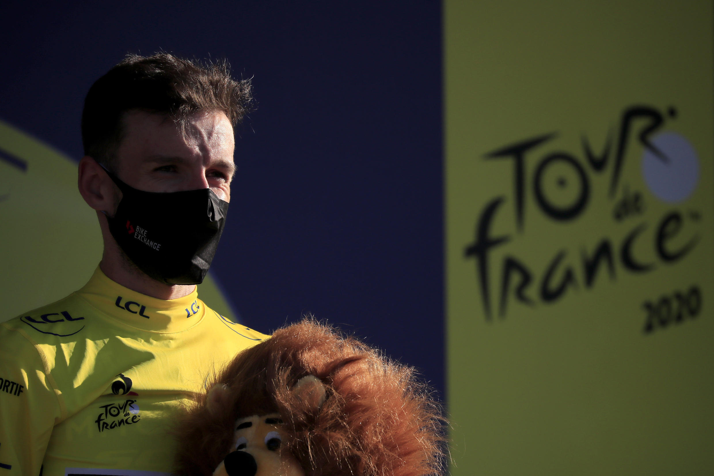 Adam Yates moved into first place in the Tour de France after the previous leader Julian Alaphilippe was given a 20 second time- penalty.