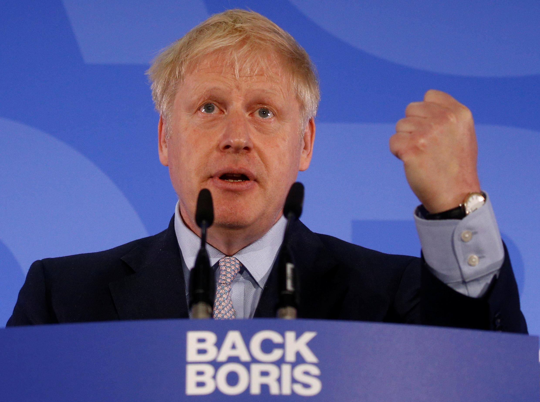 Ứng cử viên Boris Johnson trong cuộc vận động tại Luân Đôn ngày 12/06/2019.
