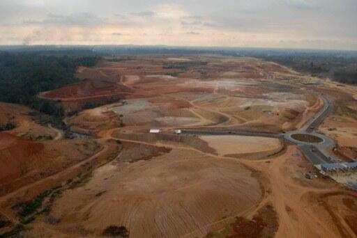 Vue aérienne du site de Nkok au Gabon.