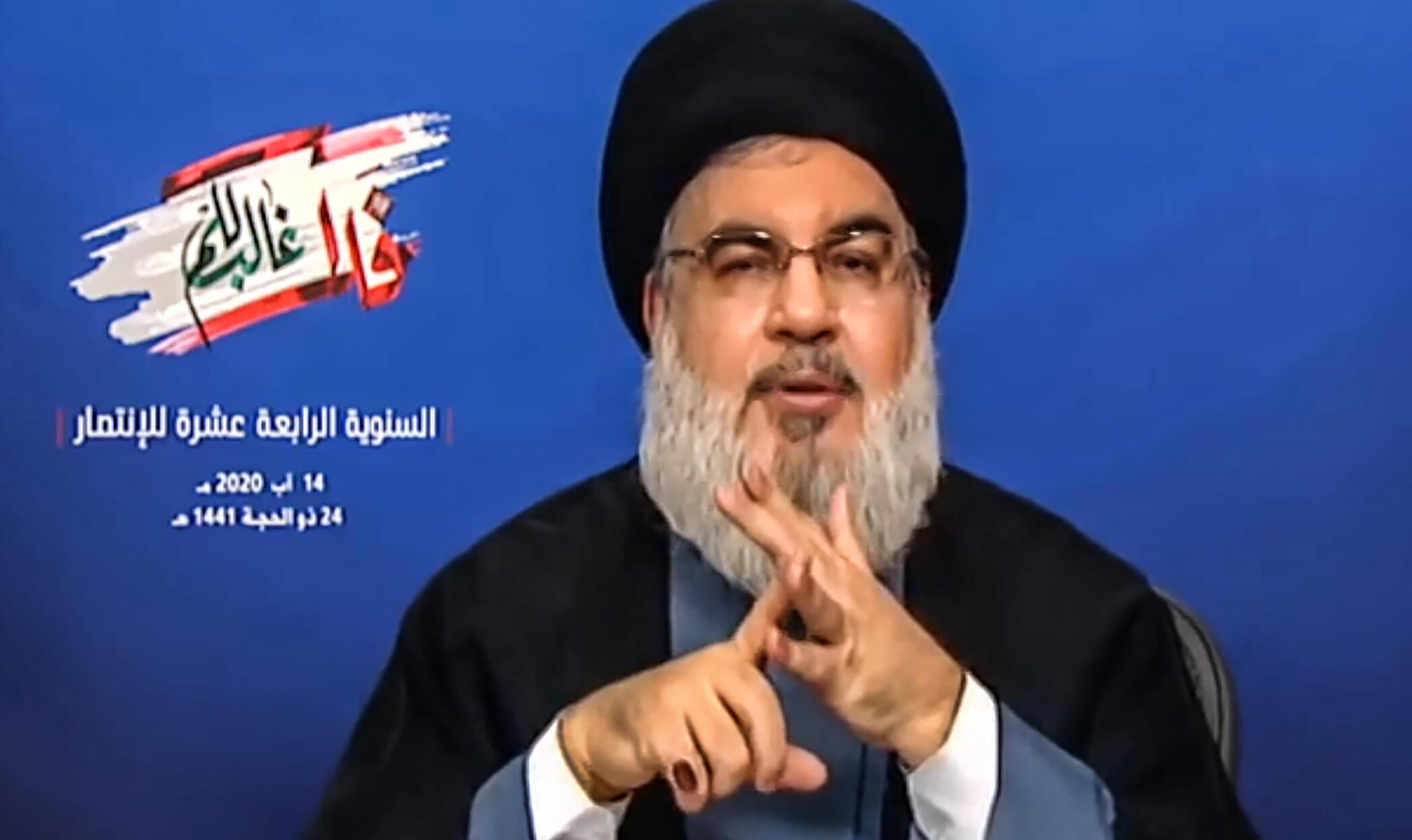 Hassan Nasrallah, o líder do partido pró-iraniano Hezbollah, em Beirute, no Líbano.