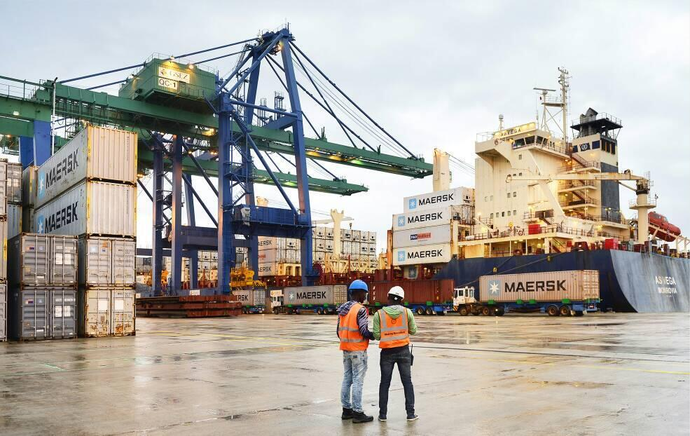 Le nouveau port d'Owendo à Libreville inauguré par le président gabonais Ali Bongo Ondimba. Gabon, 14/10/2017.