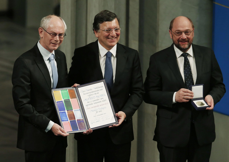 Херман ван Ромпей, Жозе Мануэль Баррозу и Мартин Шульц на награждении ЕС Нобелевской премией мира. Осло 10/12/2012