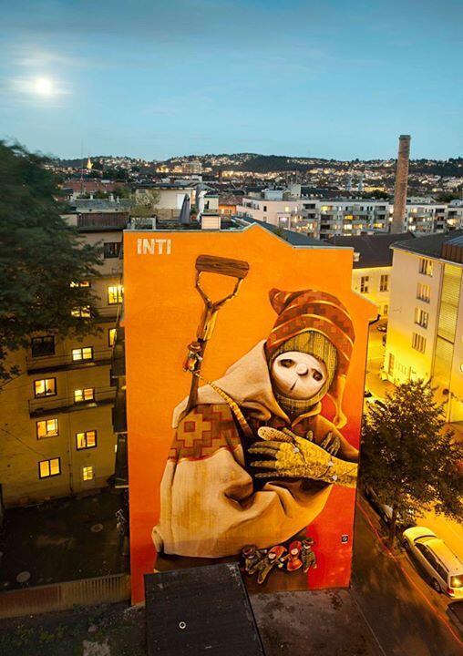 Mural de Inti en Oslo, Noruega.