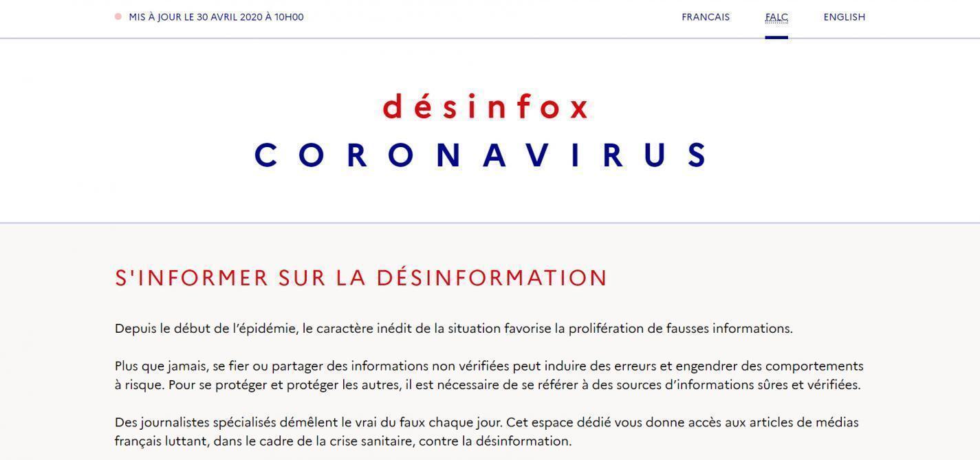 """""""Informarse sobre la desinformación"""", sugería el sito retirado el miércoles por el gobierno francés."""