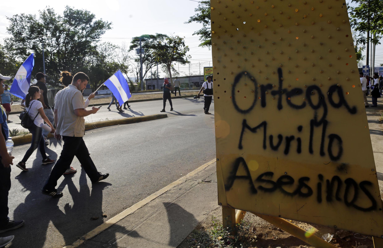 Manifestation contre le président du Nicaragua, Daniel Ortega, le 25 avril 2018 à Managua, la capitale.