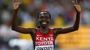 Hyvin Kiyeng Jepkemoi, atleta queniana, venceu a prova dos 3000 metros com obstáculos femininos.