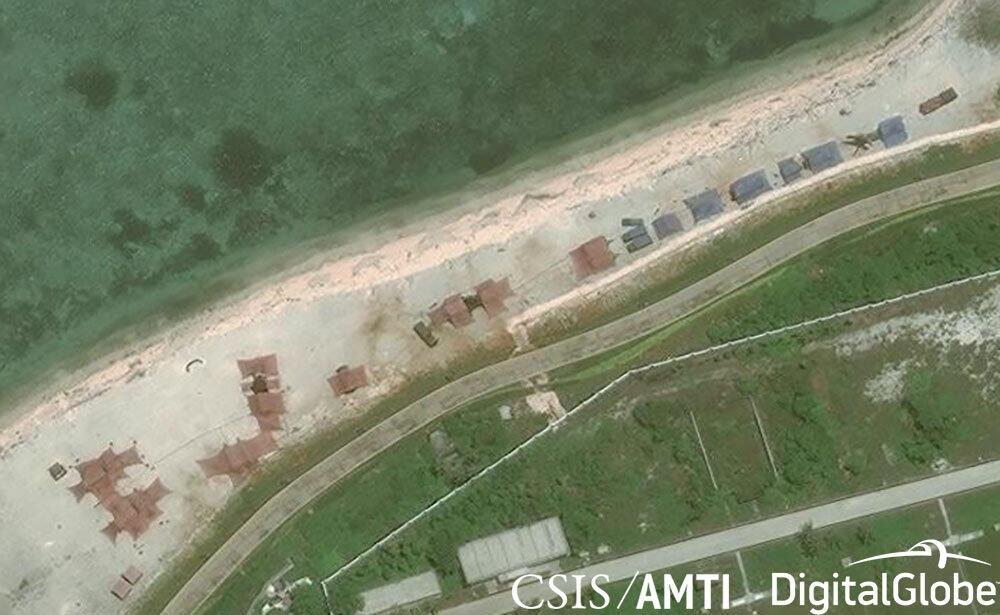 (Ảnh minh họa) - Đảo Phú Lâm (Woody Island) thuộc quần đảo Hoàng Sa. Hình ảnh vệ tinh của AMTI ngày 12/05/2018.