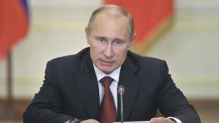 Tổng thống Nga V.Putin trong cuộc họp tại Novo-Ogaryovo, ngoại ô Matxcơva, 17/10/2012